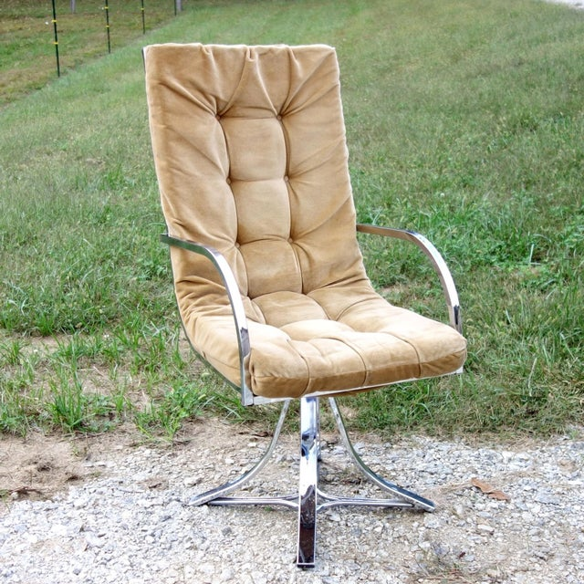 1970s Vintage Mid-Century Modern Chrome Swivel Armchair For Sale - Image 12 of 12