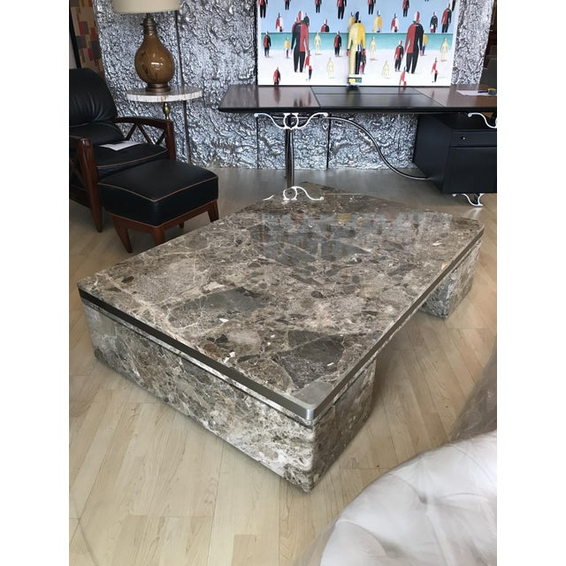 Mid-Century Modern Large Marble Coffee Table by Brueton For Sale - Image 3 of 6