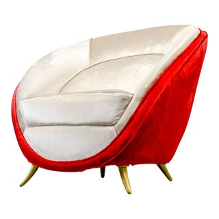 Mid-Century Italian Design Velvet Club Chair by Guglielmo Veronesi for Isa Bergamo, Italy, 1950s For Sale