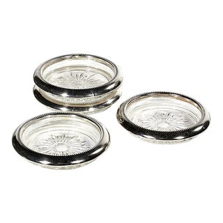 1960s Silver Rim Glass Coasters - Set of 4 For Sale