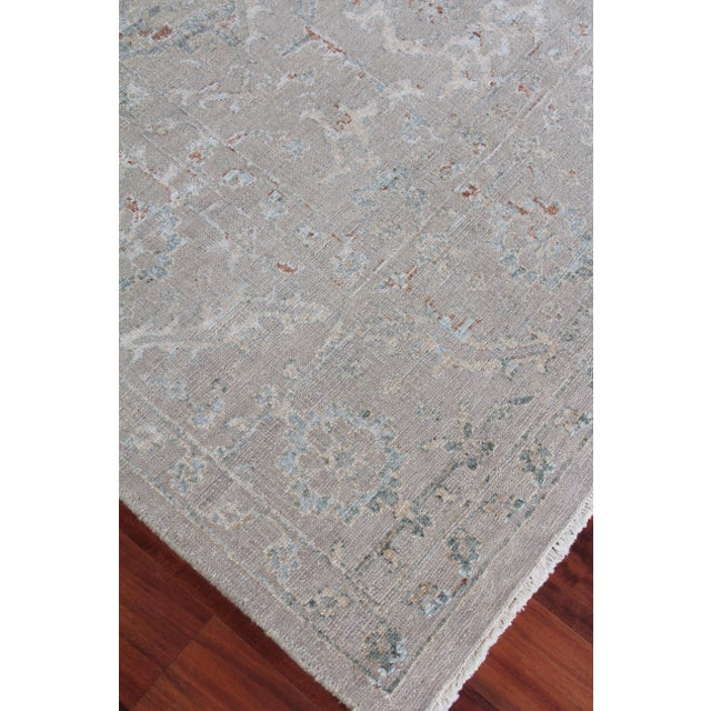 Wood Harwich Hand-Knotted Bamboo SilkLight Blue Rug - 8'x10' For Sale - Image 7 of 8