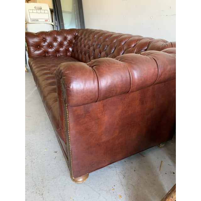 Auburn Vintage Chesterfield Leather Sofa For Sale - Image 8 of 9