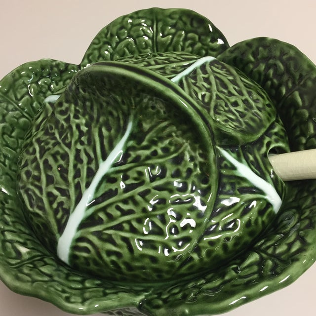 Mediterranean Green Cabbage Leaf Figural Tureen and Ladle For Sale - Image 3 of 13