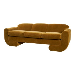 1980s Postmodern Sculptural Mohair Sofa For Sale