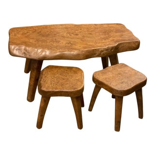 Set of Live Edge Burled Elm Cocktail Table & Two Stools, France, 1950s - Set of 3 For Sale
