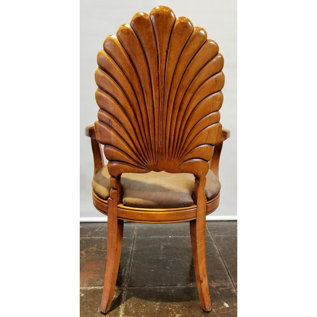 1960s Vintage Italian Venetian Carved Wood Shell Back Grotto Armchair For Sale - Image 4 of 10