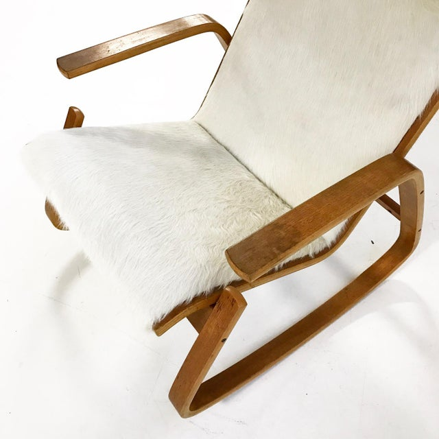 1960s Forsyth One of a Kind Westnofa Of Norway Rocking Chair In Ivory Brazilian Cowhide For Sale - Image 5 of 6