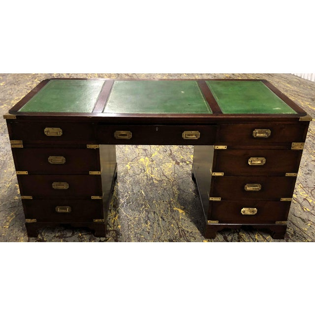 Metal 1970s English Campaign Mahogany Brass & Green Leather Partner Desk For Sale - Image 7 of 8