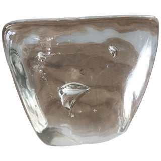 Murano Clear Glass Paperweight With Bubble Inclusions For Sale