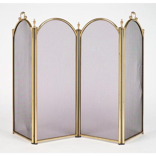 Mid-century vintage French Neoclassical brass fire screen with four arched panels. The outer two panels have handles, and...