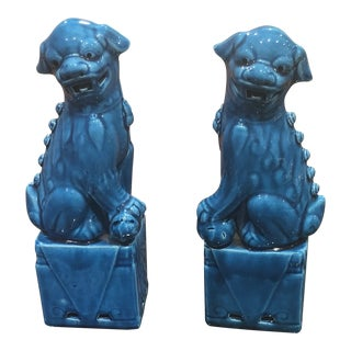 Turquoise Sitting Foo Dogs - A Pair For Sale