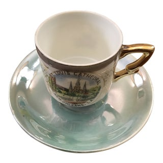 Vintage New Orleans St. Louis Cathedral Lustreware Demitasse Cup & Saucer For Sale