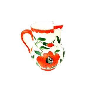 Vintage Erphila Art Pottery Orange Poppies Flower Pitcher