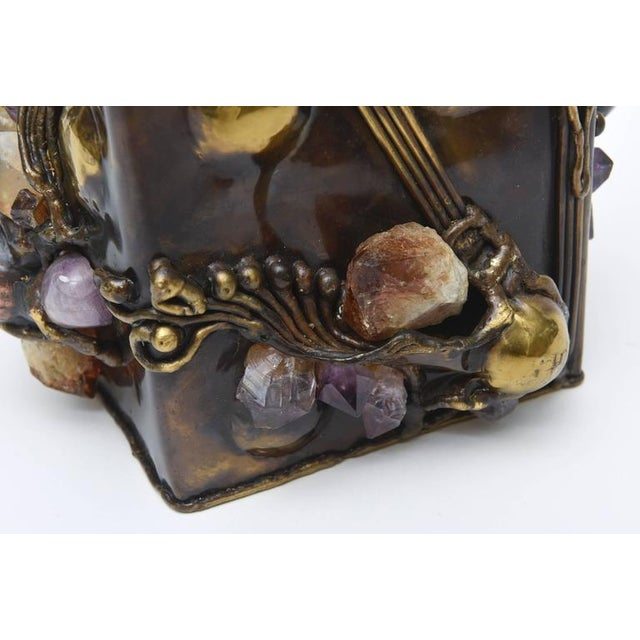 Brutalist Sculptural Mixed Metal and Amethyst, Quartz Tissue Box/ SAT.SALE For Sale - Image 9 of 10