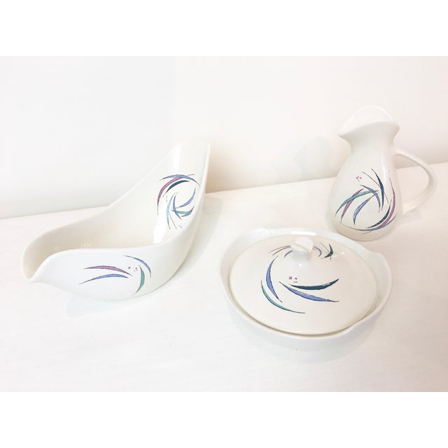 Vintage 1950s Raymor Universal Cream & Sugar and Gravy Boat Set. Sans Souci pattern designed by Ben Seibel. White with...