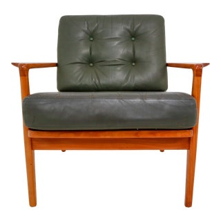Mid Century Danish Lounge Chair by Arne Wahl Iversen in Green Leather, 1960s For Sale