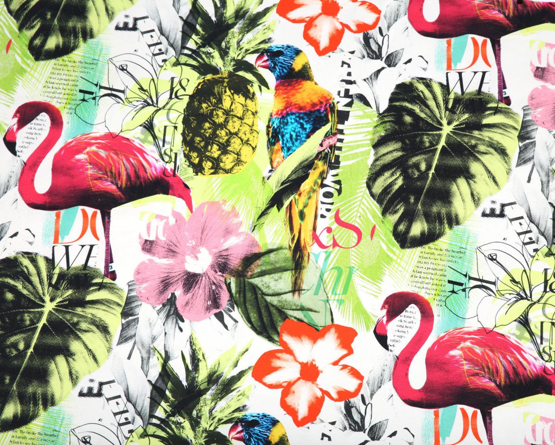 Pineapple Flamingo Art Collage Fuchsia Tropical Upholstery Fabric
