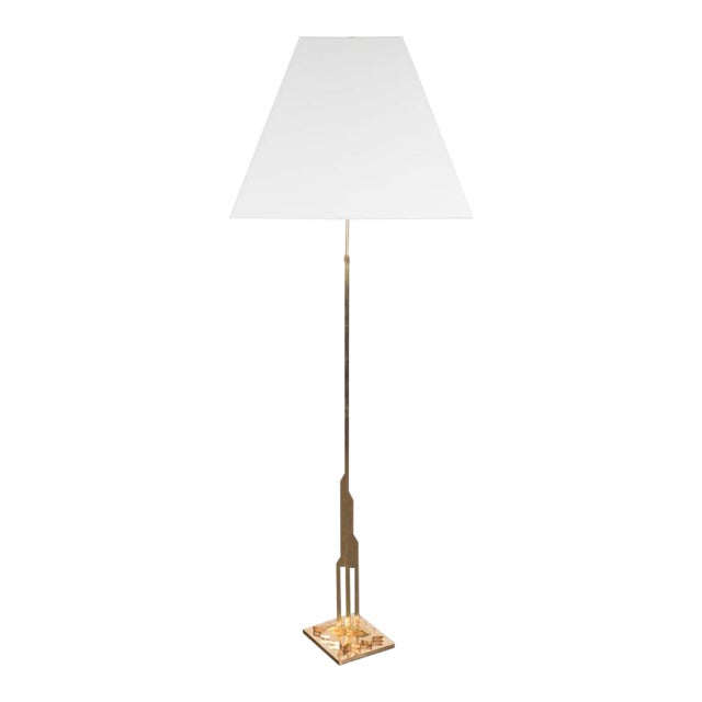 Mid-Century Modernist Floor Lamp in Polished Brass with Custom Lucite Shade For Sale