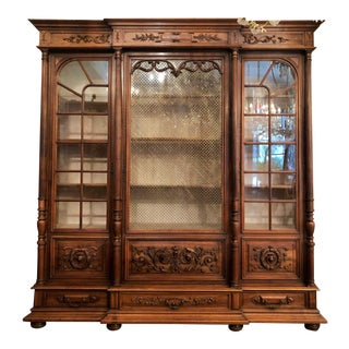 "Antique French Walnut ""Bibliotheque"" Cabinet, Circa 1870-1880's. For Sale"