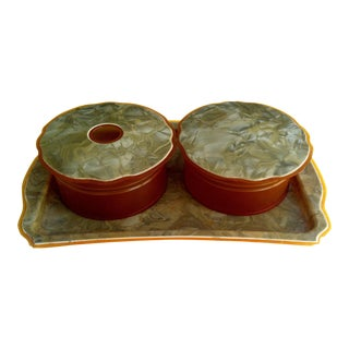 Art Deco Vanity Powder Box Set & Trinket Tray - Set of 3 For Sale
