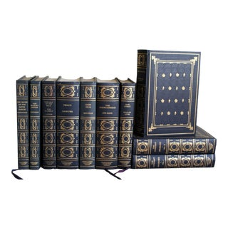 Vintage Gilt and Navy Literature Books - Set of 10 For Sale