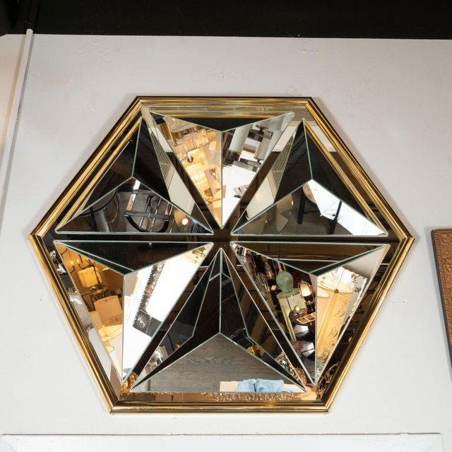 Mid-Century Modern Sculptural Hexagonal Brass Mirror With Raised Pyramidal Forms For Sale - Image 4 of 7
