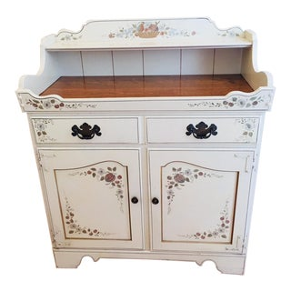 Ethan Allen Heirloom Hitchcock Stenciled Dry Sink Bar Cabinet