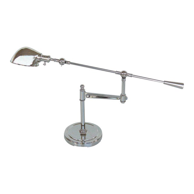 Fine Quality Adjustable Chrome Task Lamp with Pivoting Arm For Sale