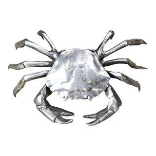 Vintage Silver Plate Crab Trinket Box Hinged Lid For Sale