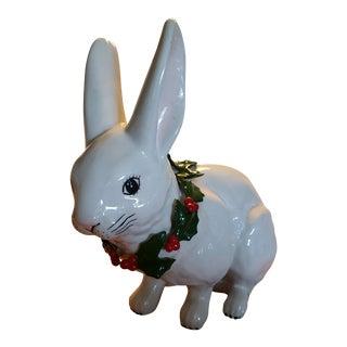 Oversized Porcelain Christmas Rabbit Figurine For Sale