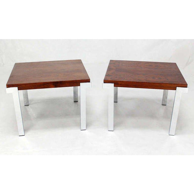 Milo Baughman Pair of Baughman Rosewood & Chrome Mid-Century Modern End Tables For Sale - Image 4 of 8