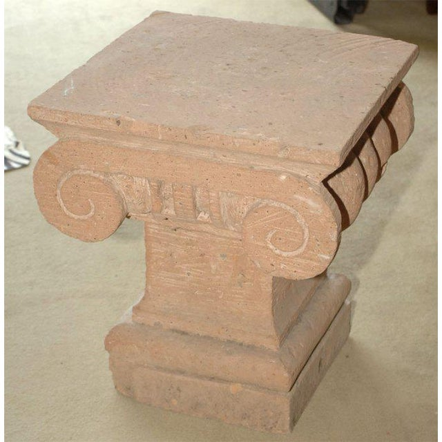 A very decorative Spanish Colonial Style capital made in Mexico 30 or 40 years ago. (base measures 13″ x 13″)