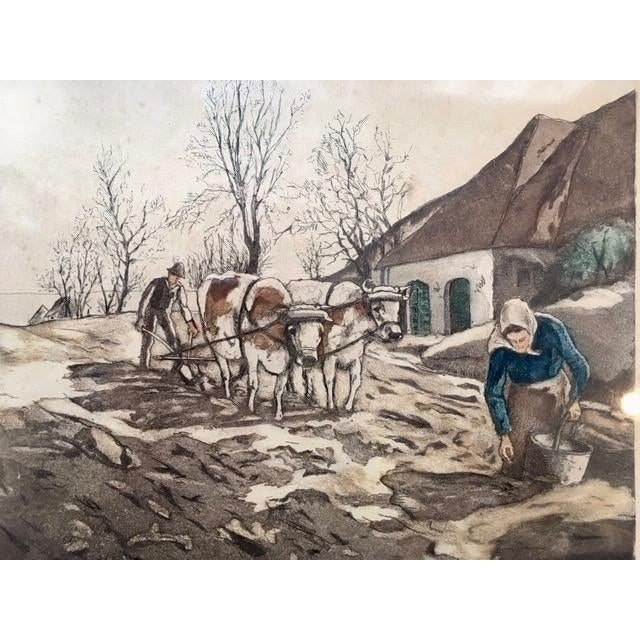 """Hand colored lithograph titled """"Country Life"""". Charming scene by artist W. Landsman."""