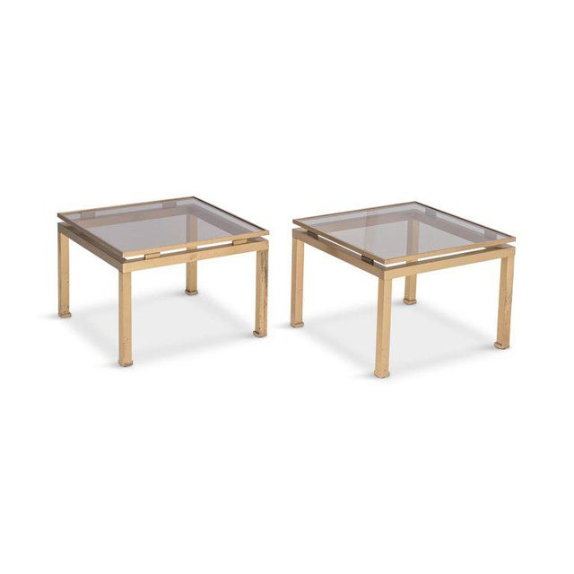 Gold Guy Lefevre Side Tables in Brass and Smoked Glass for Maison Jansen For Sale - Image 8 of 10