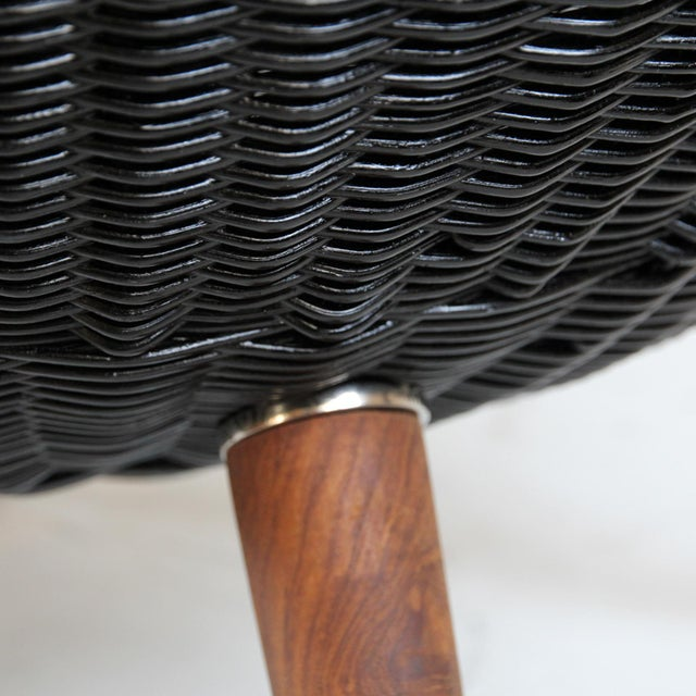 Ebony Wicker Egg Chair For Sale - Image 4 of 5