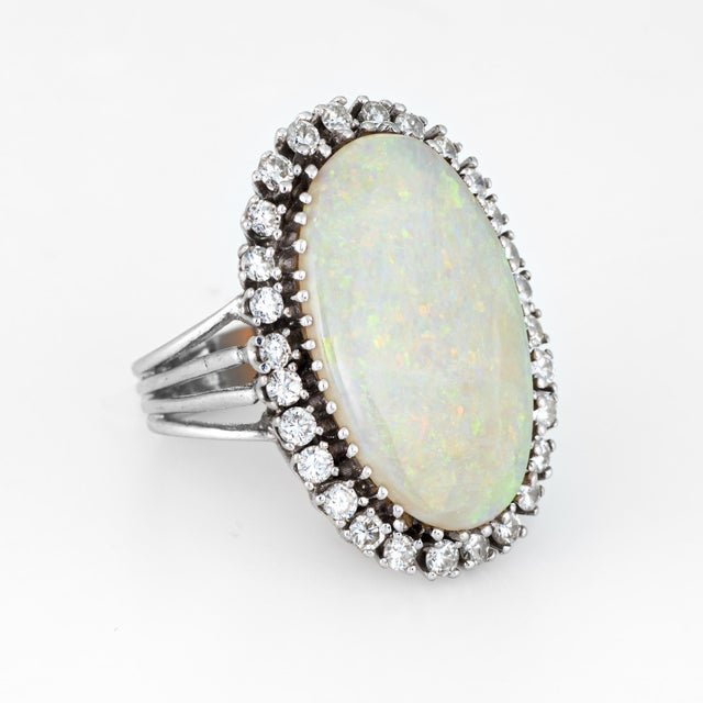 Modern Opal Diamond Ring Vintage 14 Karat Gold Big Oval Cocktail Estate Fine Jewelry For Sale - Image 3 of 8