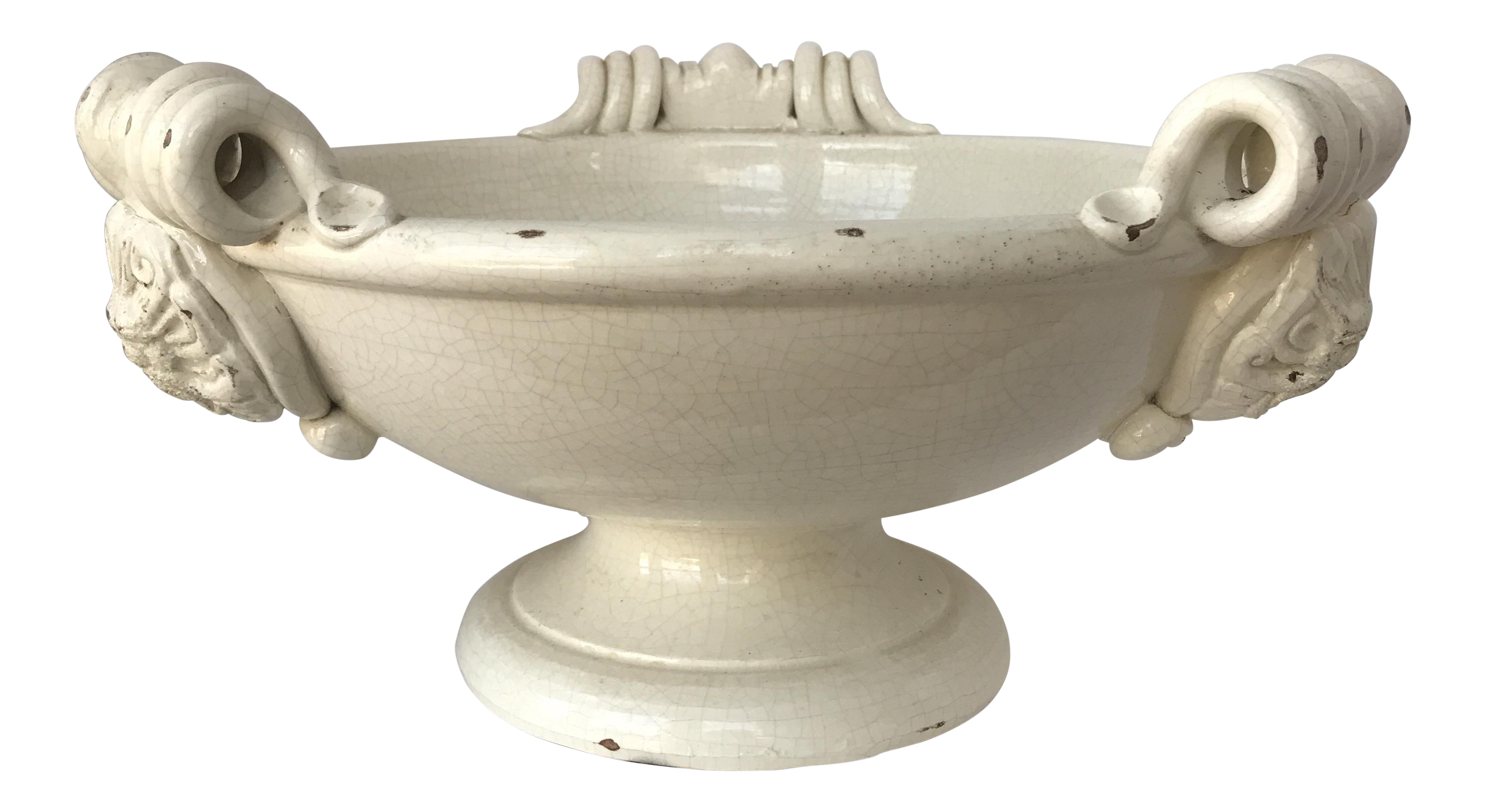 Completely new Italian Creamware Ceramic Footed Fruit Bowl | Chairish KC39