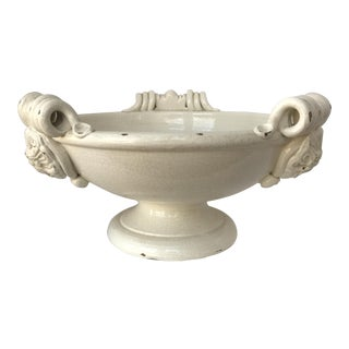 Italian Creamware Ceramic Footed Fruit Bowl