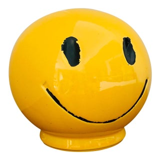 "1970s Vintage ""Have a Nice Day"" Smiley Face Ceramic Bank For Sale"