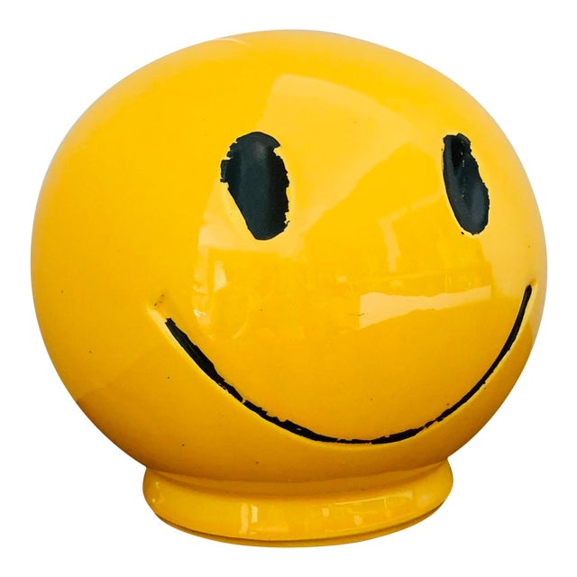 """1970s Vintage """"Have a Nice Day"""" Smiley Face Ceramic Bank For Sale"""