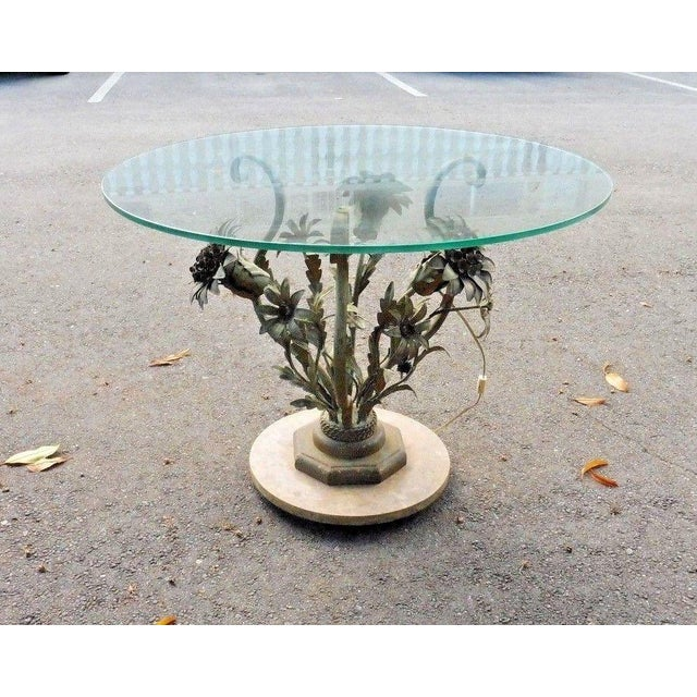 1960s 1960's Vintage Italian Hollywood Regency Tole Flowers Table For Sale - Image 5 of 7