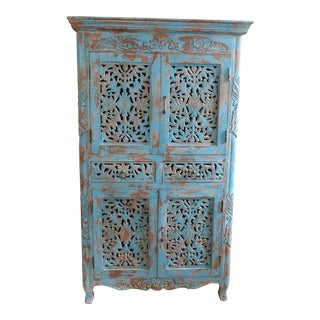 Hard Wood Turquoise Wardrobe