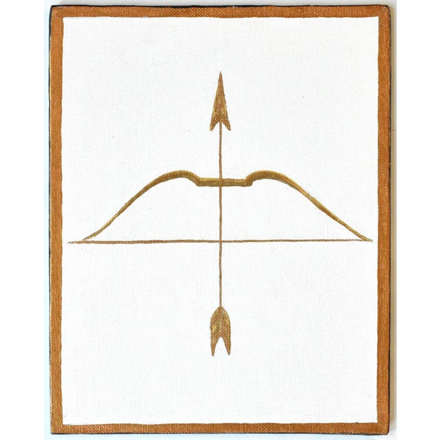 Susannah Carson Contemporary Neoclassical Gold Gilt Bow & Arrow Painting For Sale - Image 4 of 4