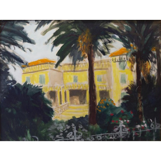 Southern France, framed watercolor and gouache painting on paper. This vibrant watercolor recalled the stunning and...