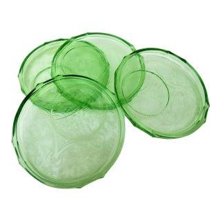 1930s Americana Green Madrid Glass Plates - Set of 4