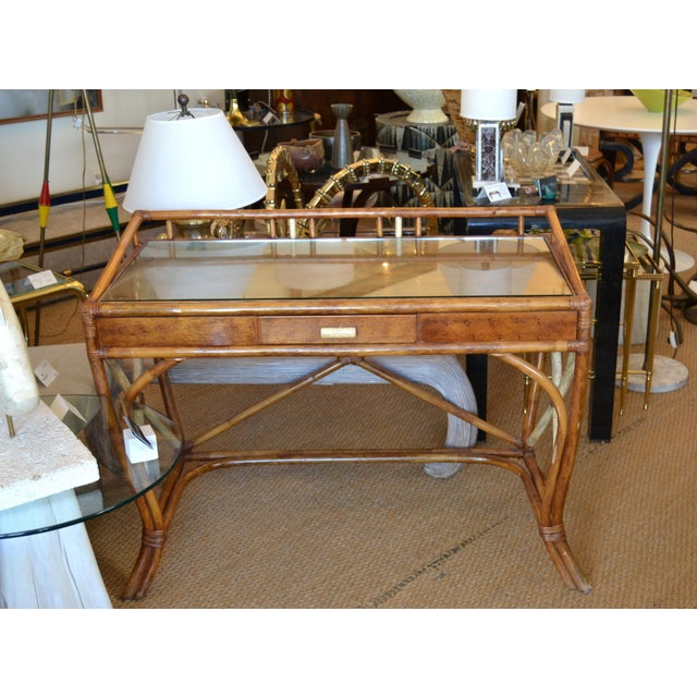 Boho Chic Vintage Handcrafted Bamboo Desk, Writing Desk With Drawer & Glass Top For Sale - Image 4 of 13