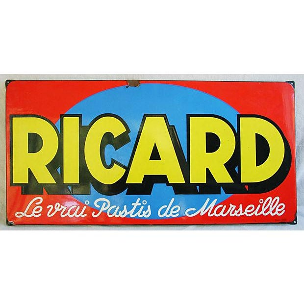 1950 French Porcelain Ricard Anisette Liqueur Sign For Sale