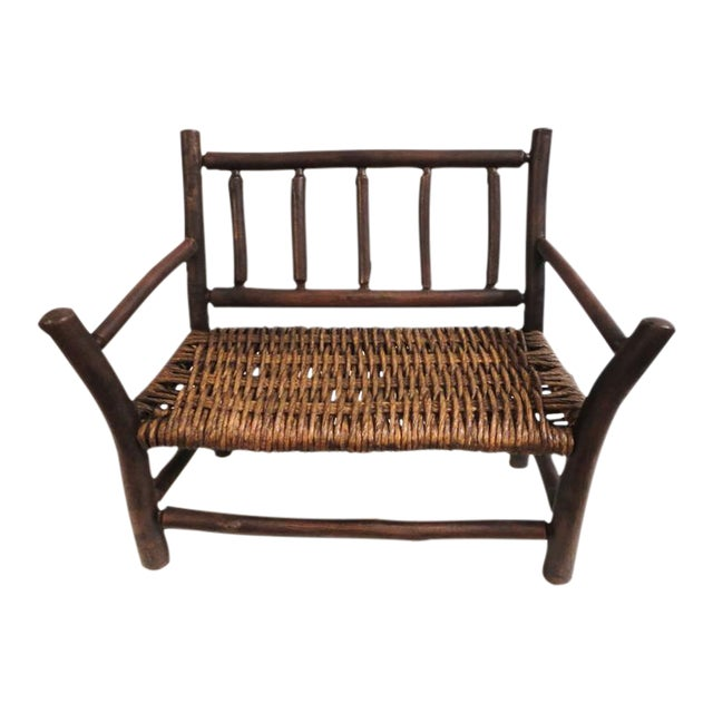 Salesman Sample Old Hickory Settee W/ Original Woven Seat - Image 1 of 6