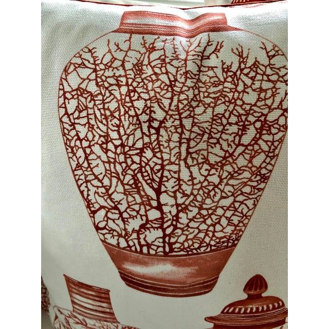 Rustic Ginger Jars & Corals Pillows, Pair For Sale - Image 3 of 7