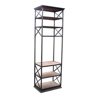 Vintage Industrial Metal & Wood Etagere Shelf For Sale
